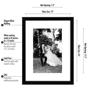 12 Pack - 12x16 Black Picture Frames - Display Pictures 8x12 with Mats - Display Pictures 12x16 Without Mats - Glass Fronts - Hanging Hardware Included