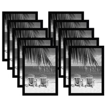 Load image into Gallery viewer, 10 Pack - 13x19 Black Picture Frames - Shatter-Resistant Glass - Hanging Hardware Included
