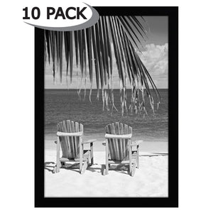 10 Pack - 13x19 Black Picture Frames - Shatter-Resistant Glass - Hanging Hardware Included