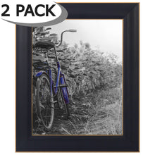 Load image into Gallery viewer, 2 Pack - 8x10 Black Rustic Picture Frames with Easels - Made for Wall and Tabletop Display