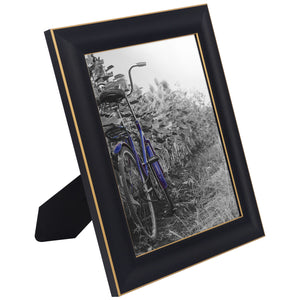 2 Pack - 8x10 Black Rustic Picture Frames with Easels - Made for Wall and Tabletop Display