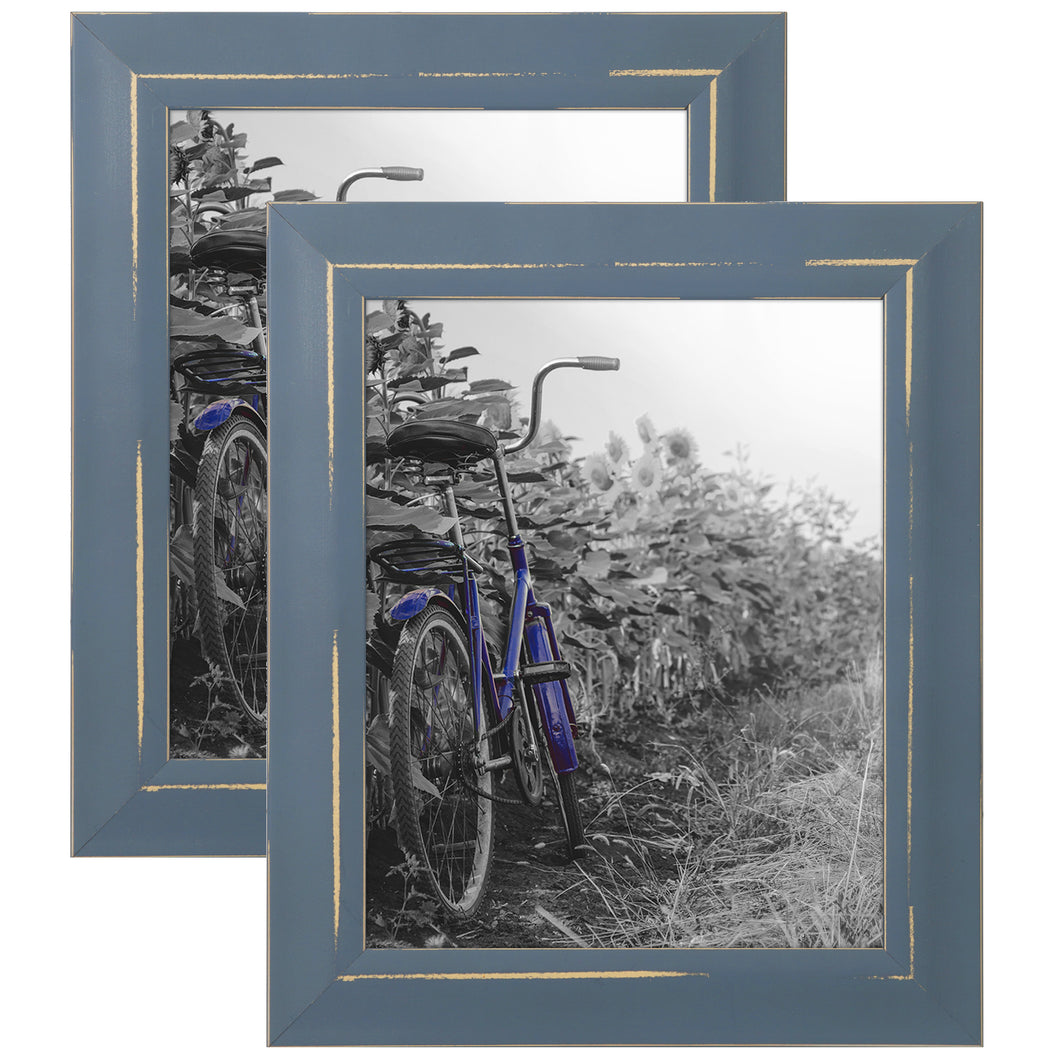 2 Pack - 8x10 Blue Rustic Picture Frames - Built-In Easels - Wall Display - Tabletop Display