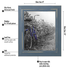 Load image into Gallery viewer, 2 Pack - 8x10 Blue Rustic Picture Frames - Built-In Easels - Wall Display - Tabletop Display