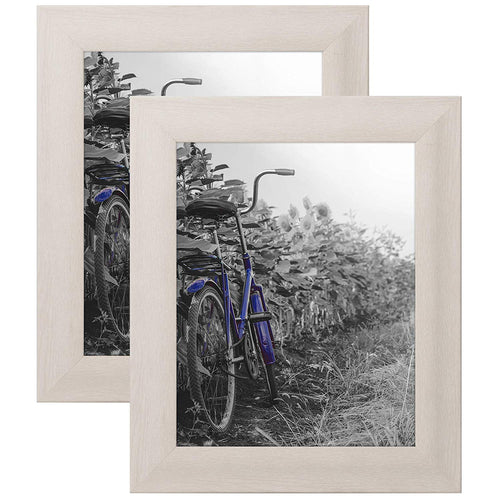 2 Pack - 8x10 White Rustic Picture Frames with Easels - Wall Display - Tabletop Display
