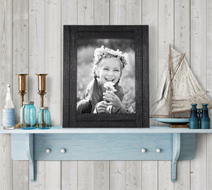 8x10 Charcoal Black Distressed Wood Frame - Made to Display 8x10 Photos - Ready To Hang - Ready To Stand With Built-In Easel