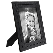 Load image into Gallery viewer, 8x10 Charcoal Black Distressed Wood Frame - Made to Display 8x10 Photos - Ready To Hang - Ready To Stand With Built-In Easel