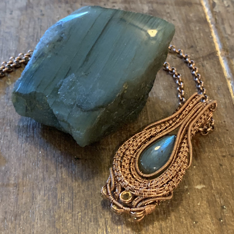 Labradorite and Citrine Pendant