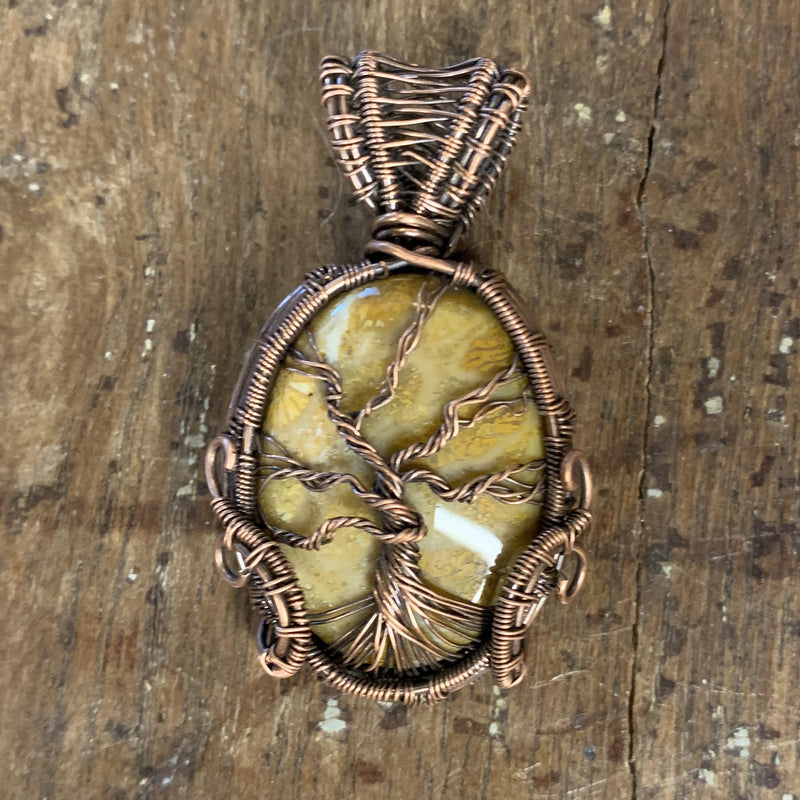 Tree of Life Natural Coral Wire Weave Pendant