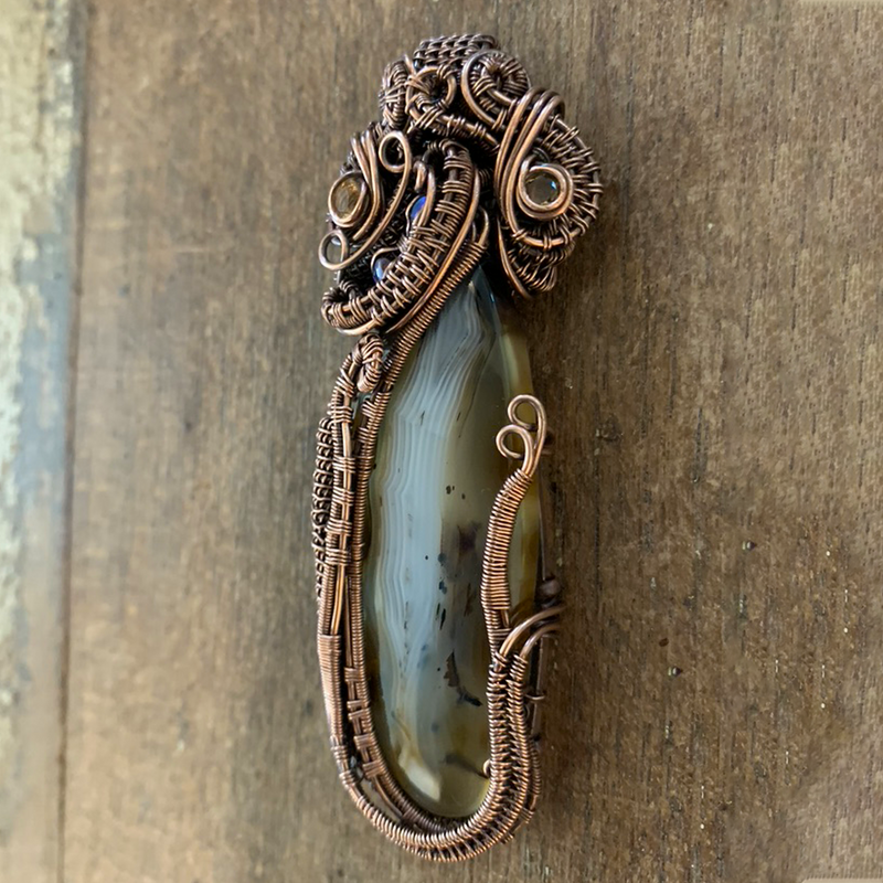 Mad River Agate Heady Pendant, Wire Weave Pendant
