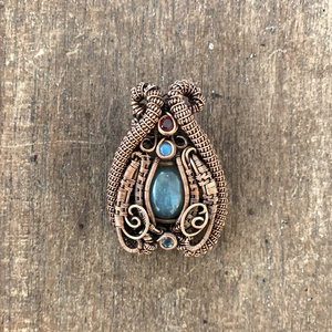 Labradorite Heady Pendant, Multi Gemstone Heady Wire Weave Pendant