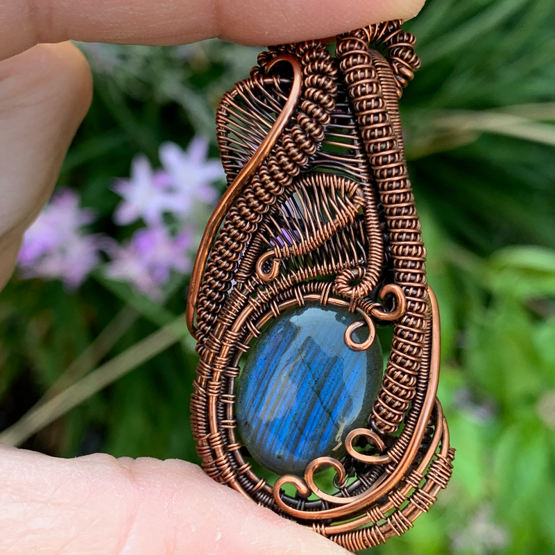 Labradorite Mini Heady Pendant- Empath Shielding + Protection
