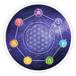 7 Chakras + Flower of Life Sticker, Spiritual Stickers, Sacred Geometry Stickers