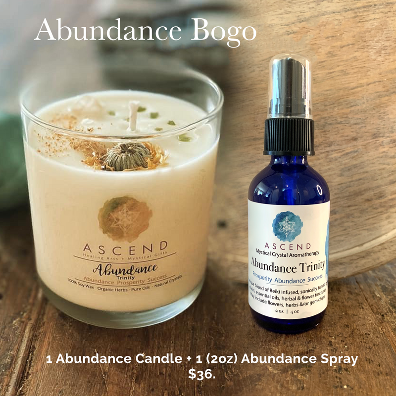 Abundance BOGO  Buy 1 Get 1 for 50% OFF Abundance Candle and Abundance Trinity Support Spray