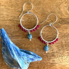 Silver Hoop Earrings with Kyanite + Red Jade- The Tranquil Warrior