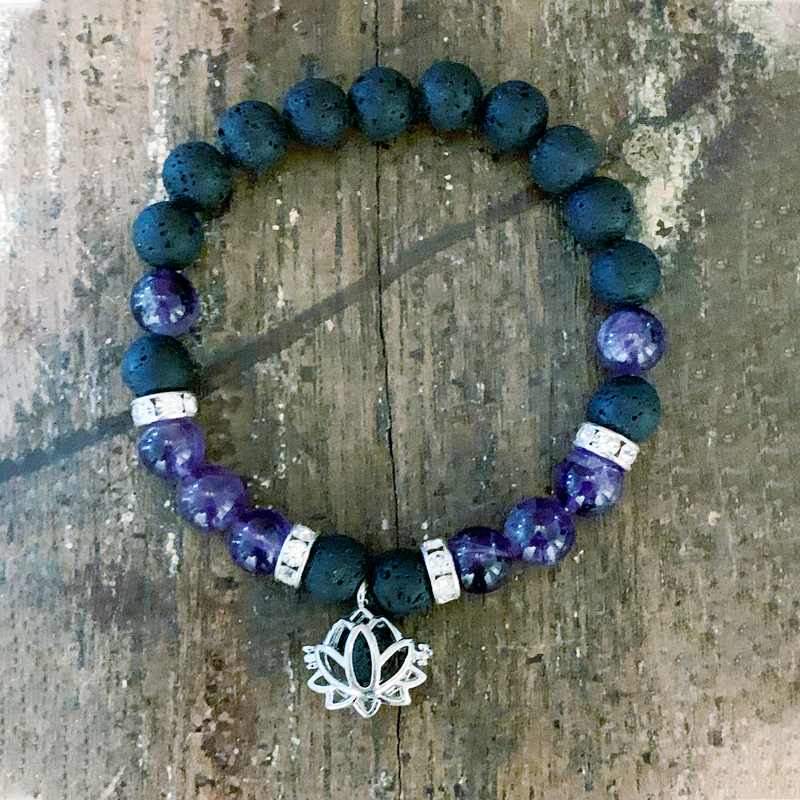 Lava Rock + Amethyst with Lotus charm Bracelet