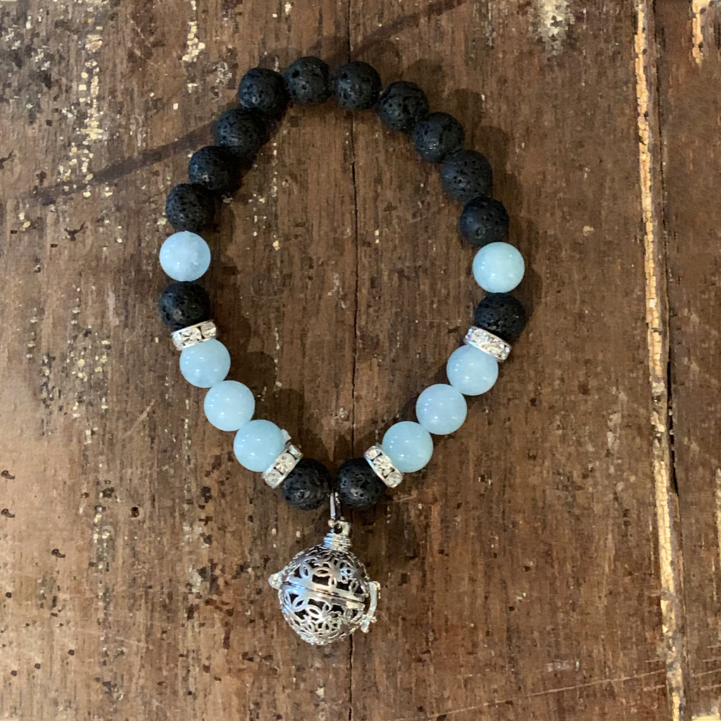 Lava Rock + Aquamarine Bracelet with lava rock holder charm