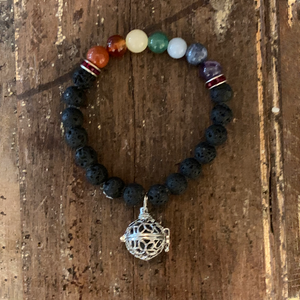 Lava Rock + 7 Chakra's  Bracelet with lava rock holder charm