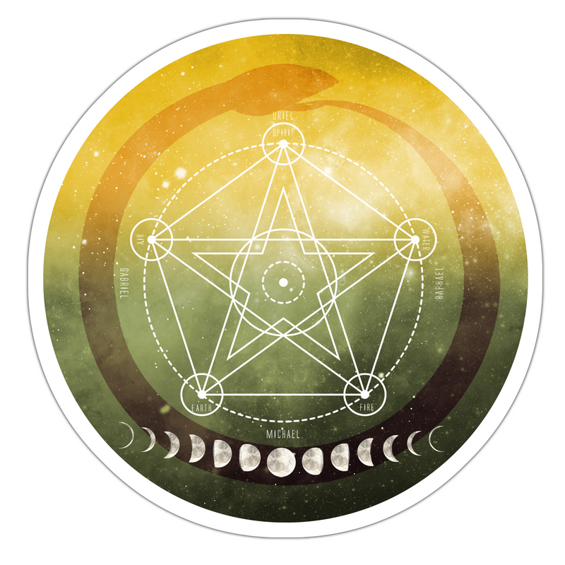 Pentacle Sticker, Full Moon Grid Sticker, Sacred Geometry