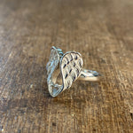 Angel Wing with Heart Sterling Silver Rings