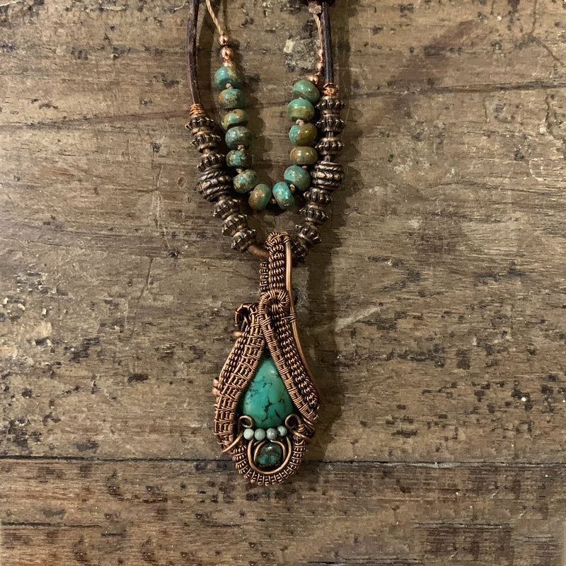 Turquoise & Natural Emerald Heady Weaved Necklace