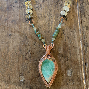 Natural Variscite Gemstone Necklace with Turquoise and Citrine Beads