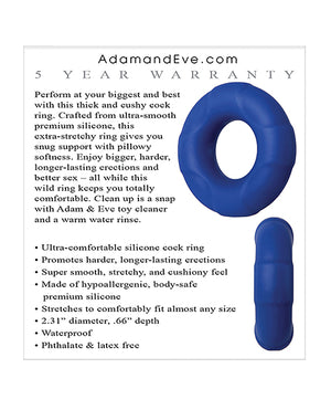Adam & Eve Big Man Silicone Cock Ring - Blue