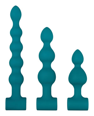 Adam & Eve Vibrating Anal Bumby Bead Set - Teal