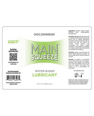 Main Squeeze Water-based Lubricant - 3.4 Oz