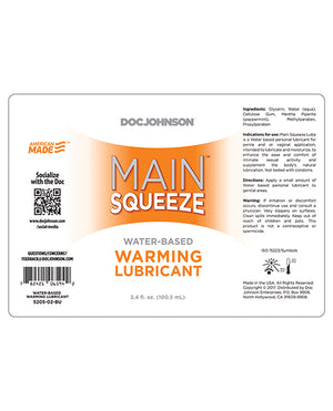 Main Squeeze Warming Water-based Lubricant - 3.4 Oz
