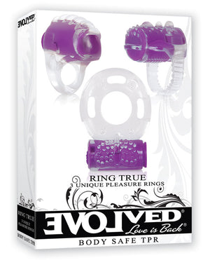 Evolved Ring True Unique Pleasure Rings Kit - 3 Pack Clear-purple