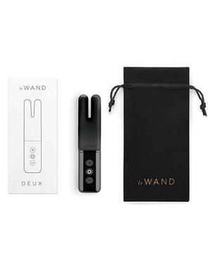 Le Wand Deux Chrome Twin Motor Rechargeable Vibrator - Black