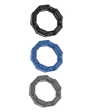 Anal Ese Collection Chain Link Cock Rings - Black-blue-grey