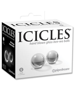 Icicles Hand Blown Glass Ben Wa Balls - Clear