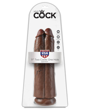 "King Cock 11"" Two Cocks One Hole - Brown"
