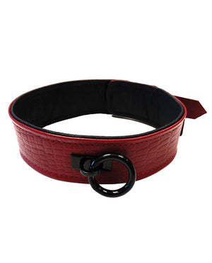 Rouge Plain Leather Collar - Burgundy