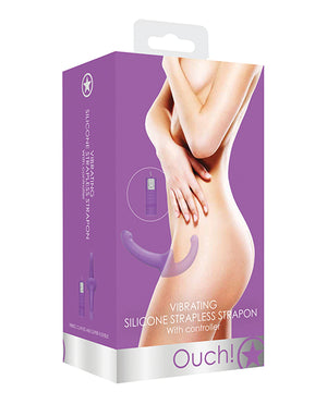 Shots Ouch Vibrating Silicone Strapless Strap On W/controller