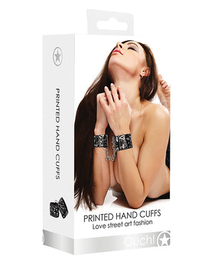 Shots Ouch Love Street Art Fashion Printed Hand Cuffs - Black