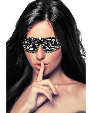 Shots Ouch Love Street Art Fashion Printed Eye Mask - Black