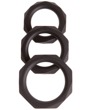Malesation Diamond Silicone Cock Ring Set - Pack Of 3