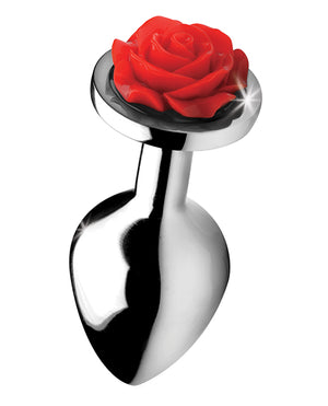 Bootysparks Red Rose Anal Plug - Silver