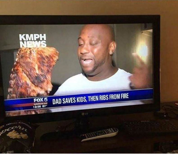 Man saves what's important from fire: family and BBQ ribs