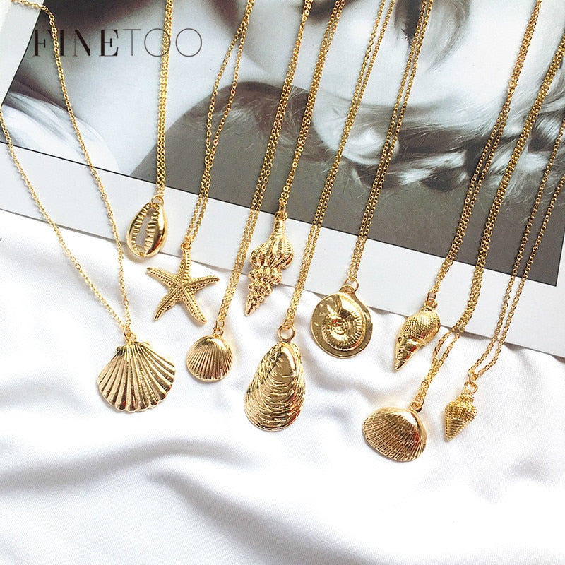 Fashion Gold Color Cowrie Shell Necklace Women Boho Ocean Beach