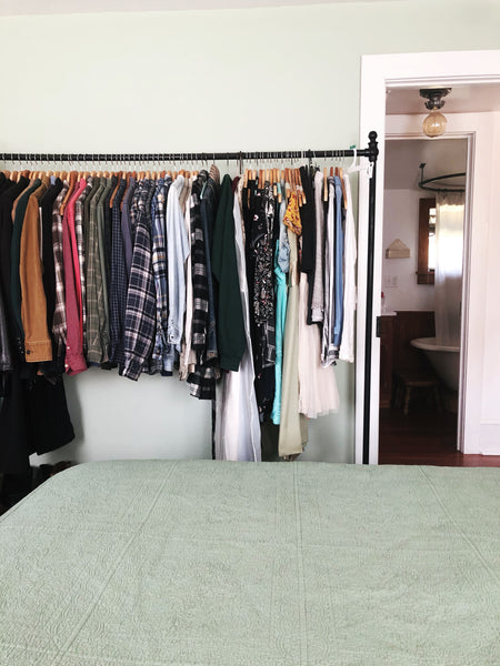 Take a House Tour of our tiny, DEBT-FREE House - master bedroom closet