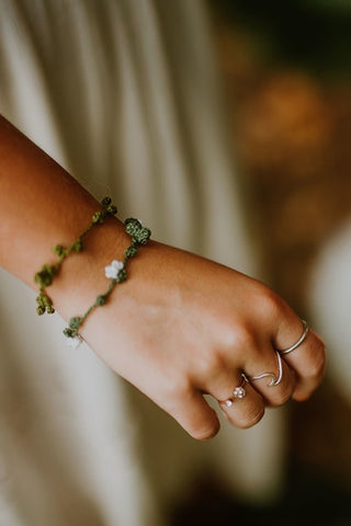 Vine Bracelet, Flowered Leaf Bracelet, Friendship Bracelet