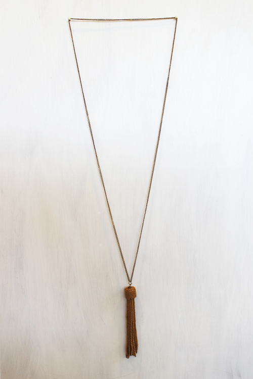 Amber Tassel Necklace