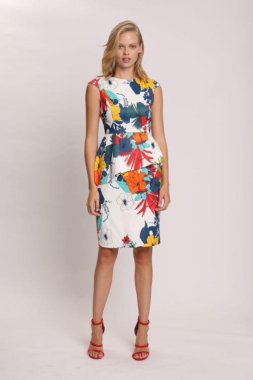 Inked Bloom Peplum Dress