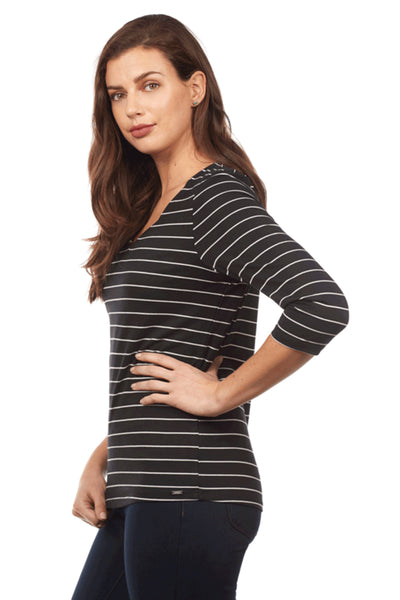 Nautical Stripe V Neck Top