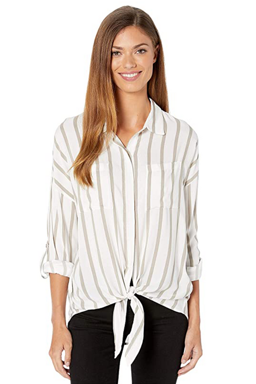 Roll Sleeve Blouse with Tie Front