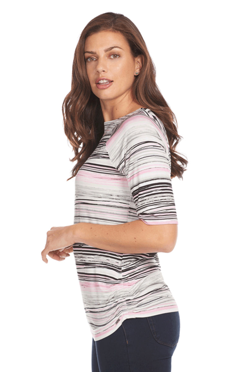 Stripe Ballet Neck Top