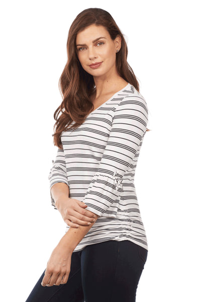 Stripe V Neck Top 3/4 Sleeve